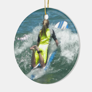 Surfing Chica Ceramic Ornament