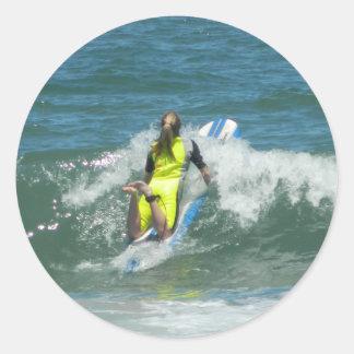 Surfing Chica Classic Round Sticker