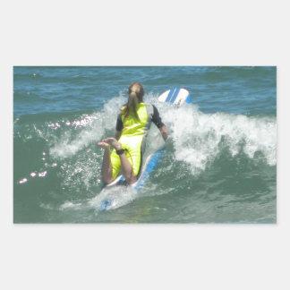 Surfing Chica Rectangular Sticker