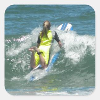 Surfing Chica Square Sticker