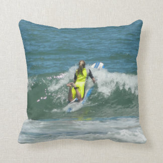 Surfing Chica Throw Pillow