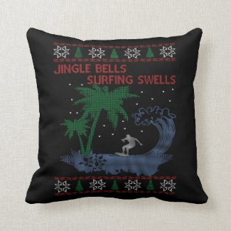Surfing Christmas Throw Pillow