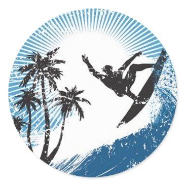 VectorGraphics Surfing Classic Round Sticker