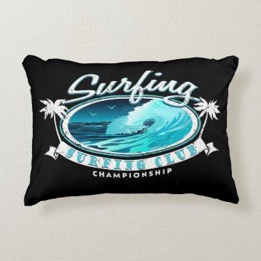 Beach Themed Surfing Club Decorative Pillow