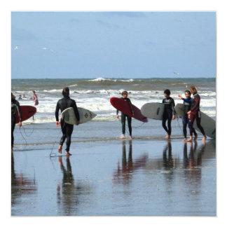"""Surfing Crowd Invitation 5.25"""" Square Invitation Card"""