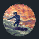 "Surfing Dartboard<br><div class=""desc"">Surfing is a rush of adrenaline,  riding the edge of crashing waves and carving turns into spray!</div>"