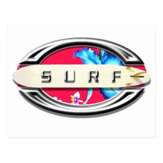 Surfing design postcard