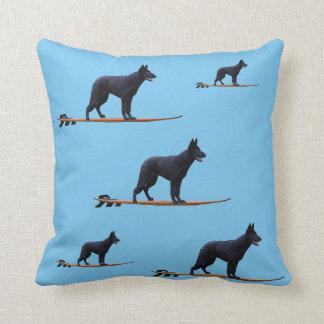 Surfing Dog - Black German Shepherd Pillow