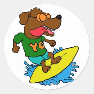 Surfing dog classic round sticker
