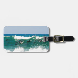 Surfing dolphins bag tag