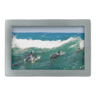 Surfing dolphins rectangular belt buckle