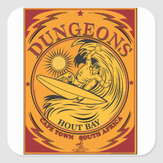 SURFING DUNGEONS CAPE TOWN SOUTH AFRICA SQUARE STICKER
