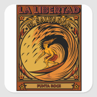 SURFING EL SALVADOR LA LIBERTAD SQUARE STICKER