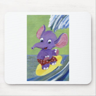 Surfing Elephant Mouse Pad