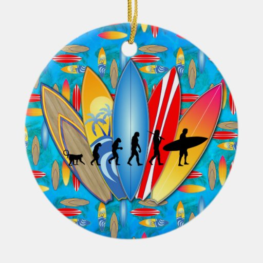 Surfing Evolution Christmas Tree Ornaments