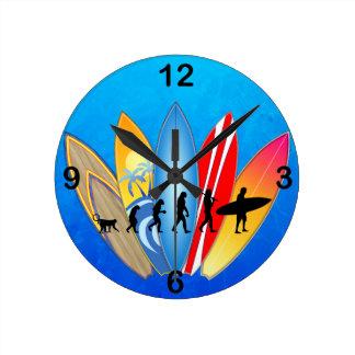Surfing Evolution Round Wall Clock