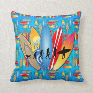 Surfing Evolution Throw Pillow