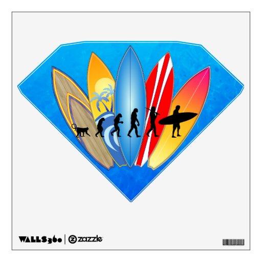 Surfing Evolution Room Sticker