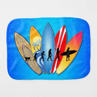 Surfing Evolution Baby Burp Cloths