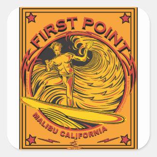 SURFING FIRST POINT MALIBU CALIFORNIA SQUARE STICKER