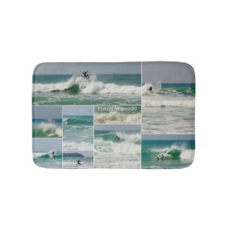 Surfing Fistral Newquay Cornwall Wipeout Collage Bath Mat