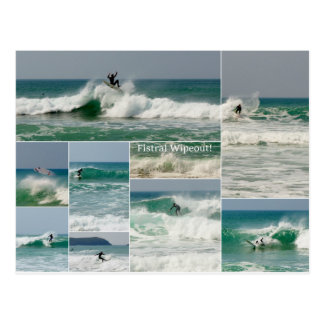 Surfing Fistral Newquay Cornwall Wipeout Postcard