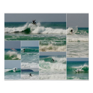 Surfing Fistral Newquay Cornwall Wipeout Poster