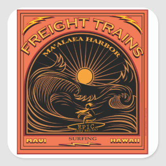 SURFING FREIGHTS TRAINS MAUI HAWAII SQUARE STICKER