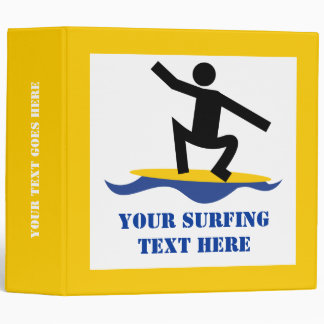Surfing gifts, surfer on his surfboard custom 3 ring binders