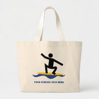 Surfing gifts, surfer on his surfboard custom jumbo tote bag