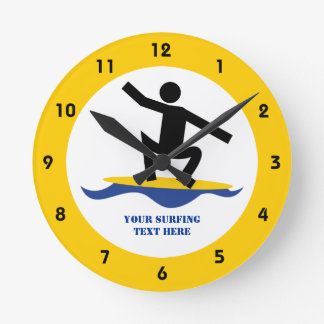 Surfing gifts, surfer on his surfboard custom wall clocks