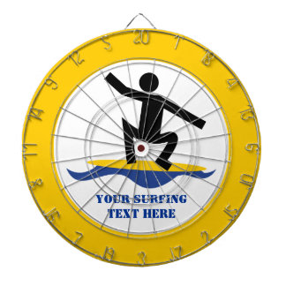 Surfing gifts, surfer on his surfboard custom dart boards