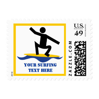 Surfing gifts, surfer on his surfboard custom postage stamps