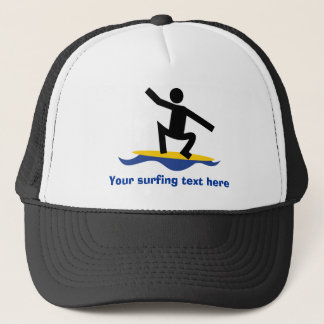 Surfing gifts, surfer on his surfboard custom trucker hat