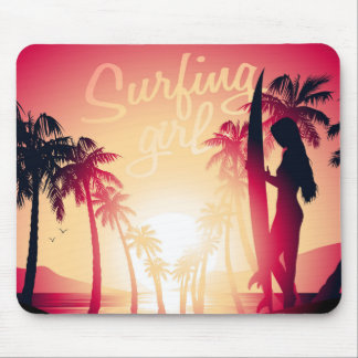 Surfing girl at sunrise mouse pad