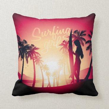 Beach Themed Surfing girl at sunrise throw pillow
