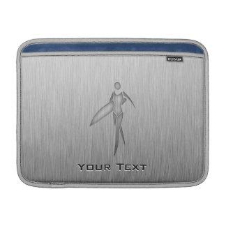 Surfing Girl; Brushed Metal-look MacBook Sleeve