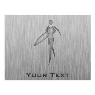 Surfing Girl; Brushed Metal-look Postcard