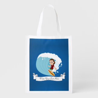 Surfing girl cartoon grocery bag