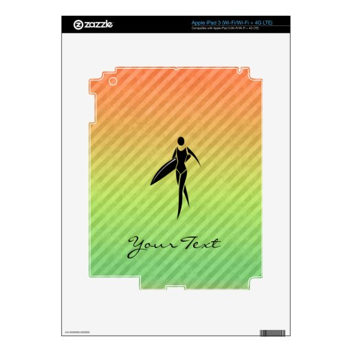 Surfing Girl Decals For iPad 3