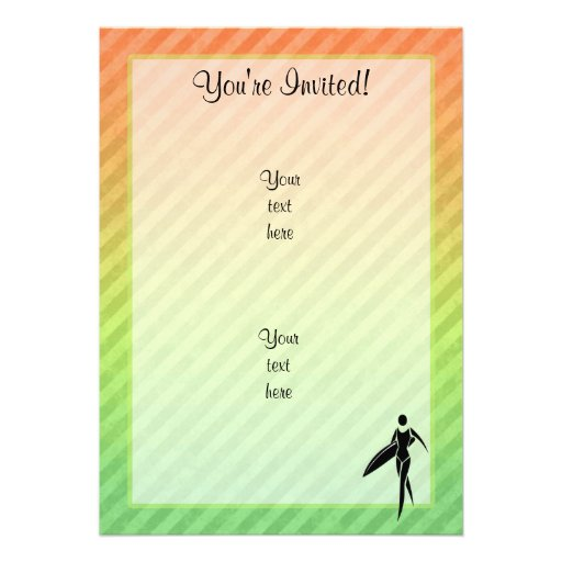 Surfing Girl Personalized Invites