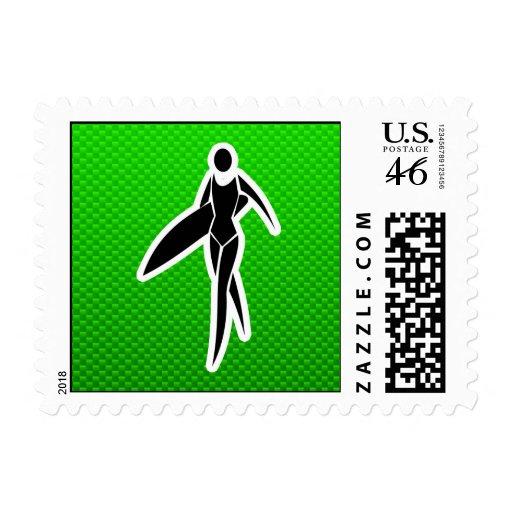 Surfing Girl Postage Stamp