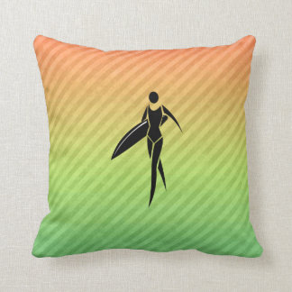 Surfing Girl Throw Pillow
