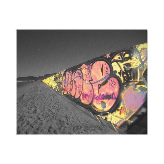 Surfing graffiti california photograph canvas print