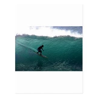 Surfing green wave Bali Postcard