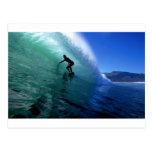 Surfing green wave postcard
