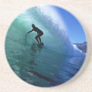 Surfing green wave sandstone coaster