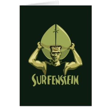 Beach Themed Surfing Halloween Frankenstein Card