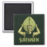 Surfing Halloween Frankenstein 2 Inch Square Magnet