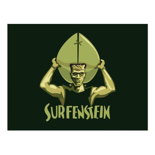 Surfing Halloween Frankenstein Postcard